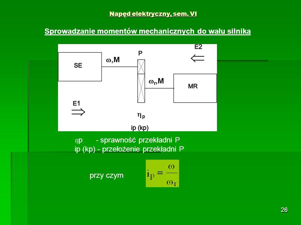 26 Napęd elektryczny, sem. VI przy czym Sprowadzanie momentów mechanicznych do wału silnika,M r,M p p - sprawność przekładni P ip (kp) - przełożenie p
