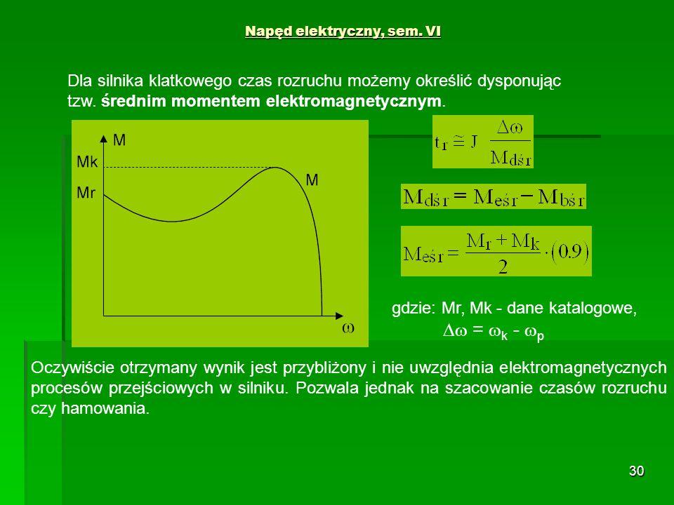 30 Napęd elektryczny, sem. VI Dla silnika klatkowego czas rozruchu możemy określić dysponując tzw. średnim momentem elektromagnetycznym. gdzie: Mr, Mk