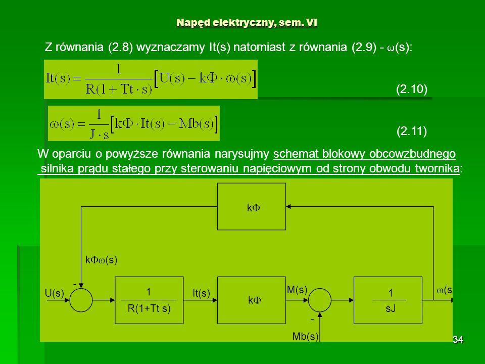 34 Napęd elektryczny, sem. VI (2.11) (2.10) Z równania (2.8) wyznaczamy It(s) natomiast z równania (2.9) - (s): W oparciu o powyższe równania narysujm