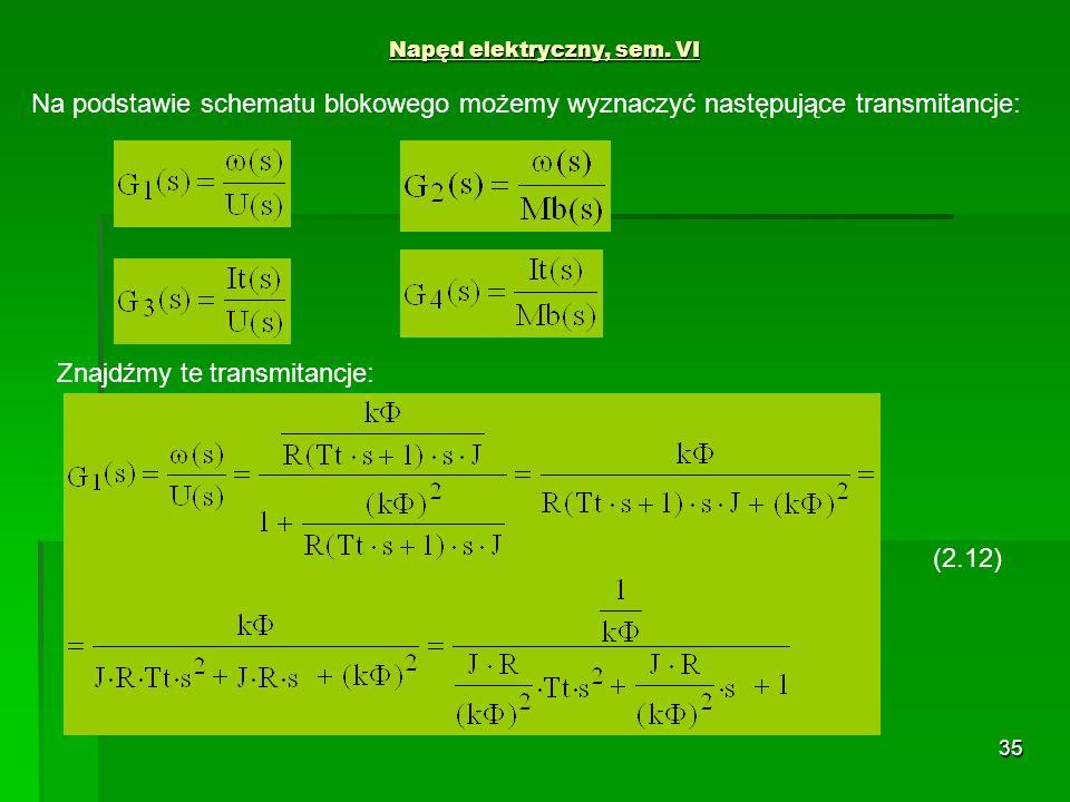 35 Napęd elektryczny, sem. VI Na podstawie schematu blokowego możemy wyznaczyć następujące transmitancje: Znajdźmy te transmitancje: (2.12)