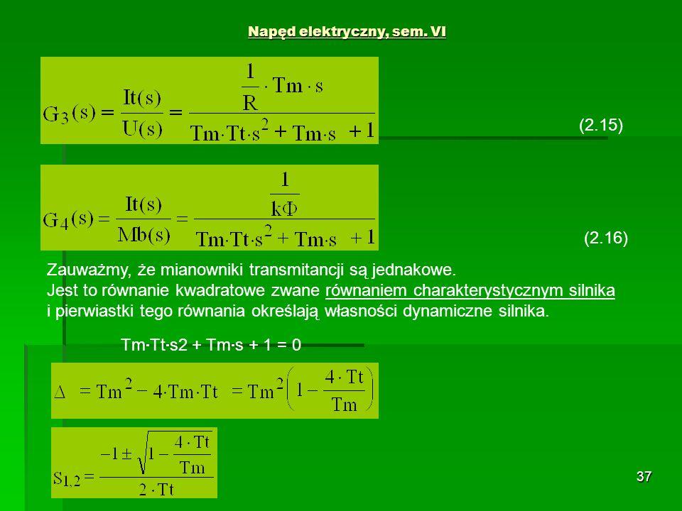 37 Napęd elektryczny, sem. VI (2.15) (2.16) Zauważmy, że mianowniki transmitancji są jednakowe. Jest to równanie kwadratowe zwane równaniem charaktery