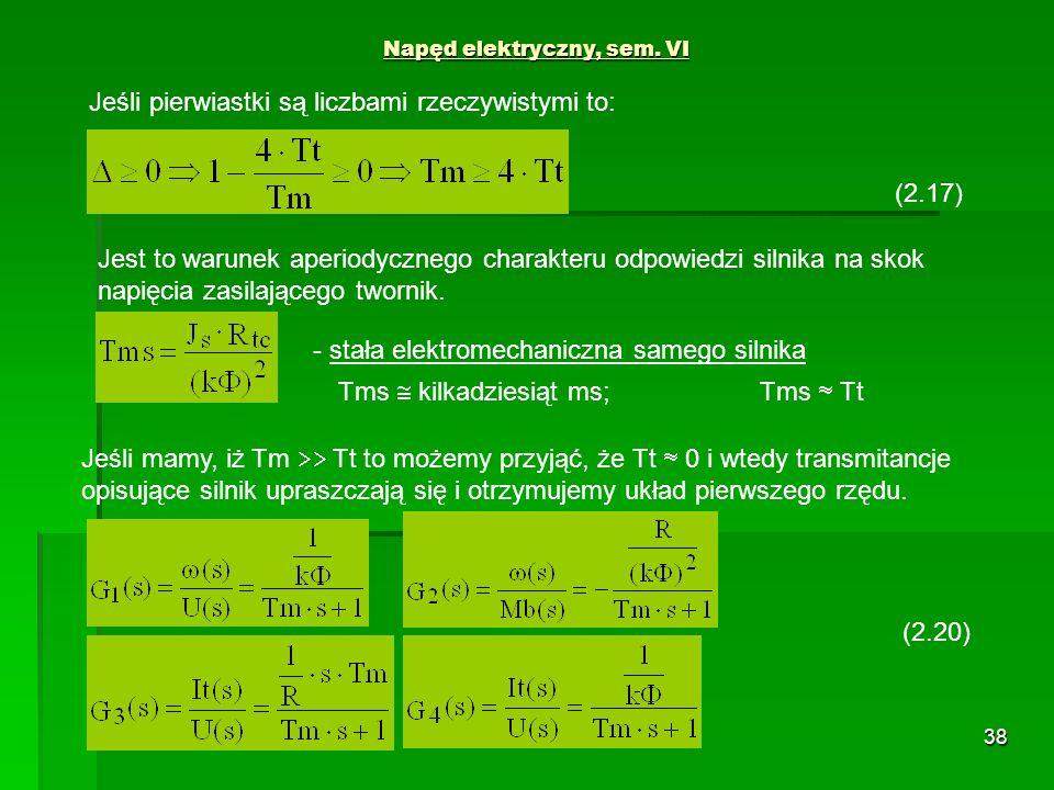 38 Napęd elektryczny, sem. VI (2.17) Jeśli pierwiastki są liczbami rzeczywistymi to: Jest to warunek aperiodycznego charakteru odpowiedzi silnika na s