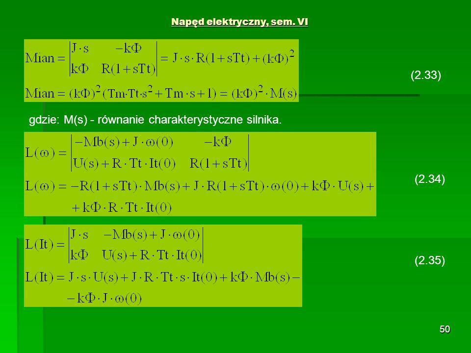 50 Napęd elektryczny, sem. VI (2.34) (2.35) (2.33) gdzie: M(s) - równanie charakterystyczne silnika.