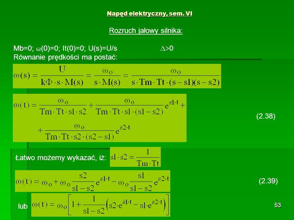 53 Napęd elektryczny, sem. VI (2.38) Rozruch jałowy silnika: Mb=0; (0)=0; It(0)=0; U(s)=U/s 0 Równanie prędkości ma postać: Łatwo możemy wykazać, iż: