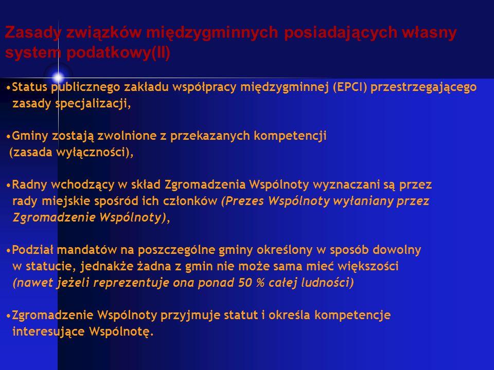 Zasady związków międzygminnych posiadających własny system podatkowy(II) Status publicznego zakładu współpracy międzygminnej (EPCI) przestrzegającego