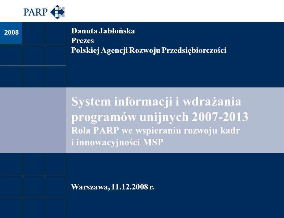 2008 System informacji i wdrażania programów unijnych 2007-2013 Rola PARP we wspieraniu rozwoju kadr i innowacyjności MSP Warszawa, 11.12.2008 r. Danu