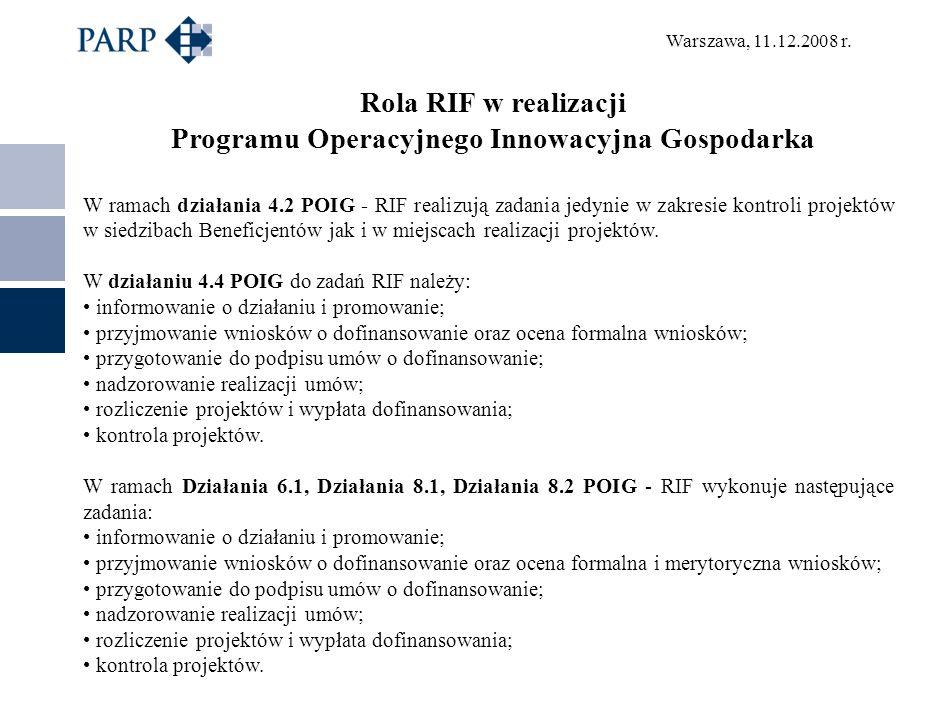 Warszawa, 11.12.2008 r. Rola RIF w realizacji Programu Operacyjnego Innowacyjna Gospodarka W ramach działania 4.2 POIG - RIF realizują zadania jedynie