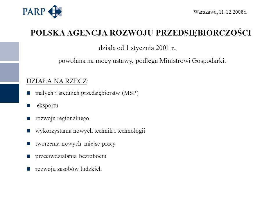 Warszawa, 11.12.2008 r. POLSKA AGENCJA ROZWOJU PRZEDSIĘBIORCZOŚCI działa od 1 stycznia 2001 r., powołana na mocy ustawy, podlega Ministrowi Gospodarki