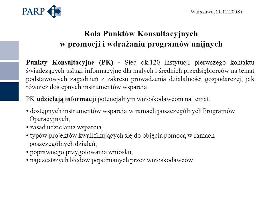Warszawa, 11.12.2008 r. Rola Punktów Konsultacyjnych w promocji i wdrażaniu programów unijnych Punkty Konsultacyjne (PK) - Sieć ok.120 instytucji pier