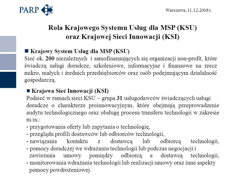 Warszawa, 11.12.2008 r. Rola Krajowego Systemu Usług dla MSP (KSU) oraz Krajowej Sieci Innowacji (KSI) Krajowy System Usług dla MSP (KSU) Sieć ok. 200