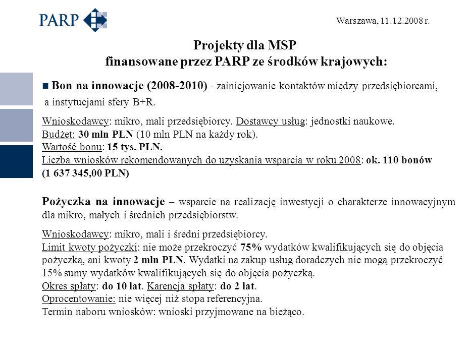 Warszawa, 11.12.2008 r. Projekty dla MSP finansowane przez PARP ze środków krajowych: Bon na innowacje (2008-2010) - zainicjowanie kontaktów między pr