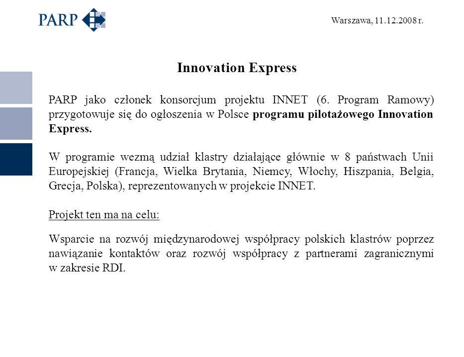 Warszawa, 11.12.2008 r. Innovation Express PARP jako członek konsorcjum projektu INNET (6. Program Ramowy) przygotowuje się do ogłoszenia w Polsce pro