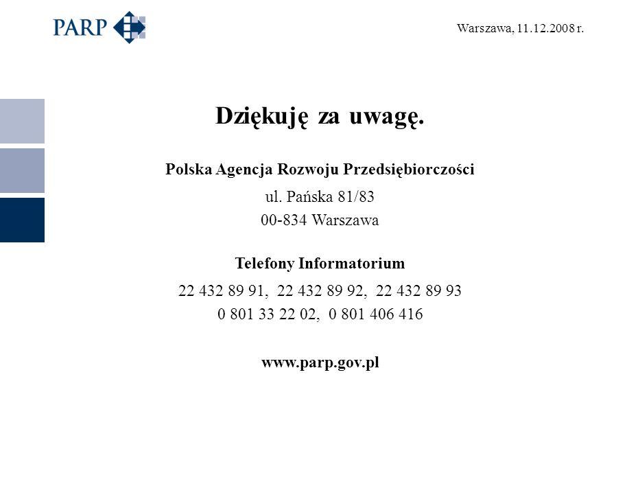 Warszawa, 11.12.2008 r. Dziękuję za uwagę. Polska Agencja Rozwoju Przedsiębiorczości ul. Pańska 81/83 00-834 Warszawa Telefony Informatorium 22 432 89