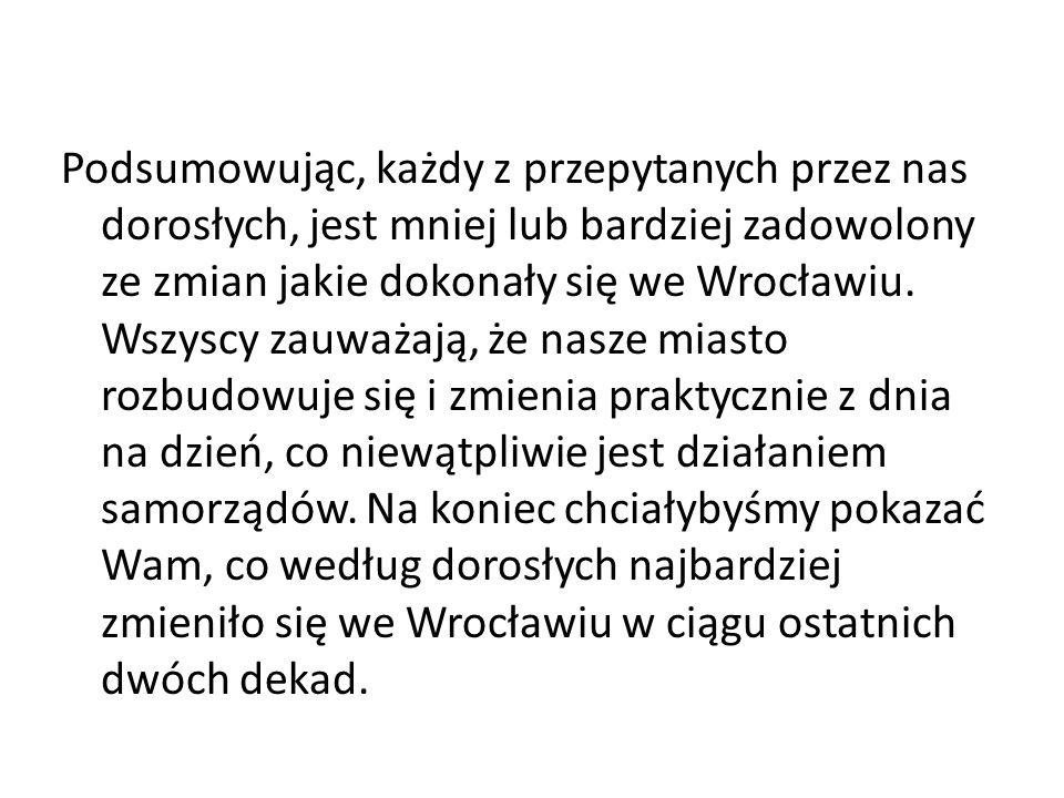 Podsumowując, każdy z przepytanych przez nas dorosłych, jest mniej lub bardziej zadowolony ze zmian jakie dokonały się we Wrocławiu. Wszyscy zauważają