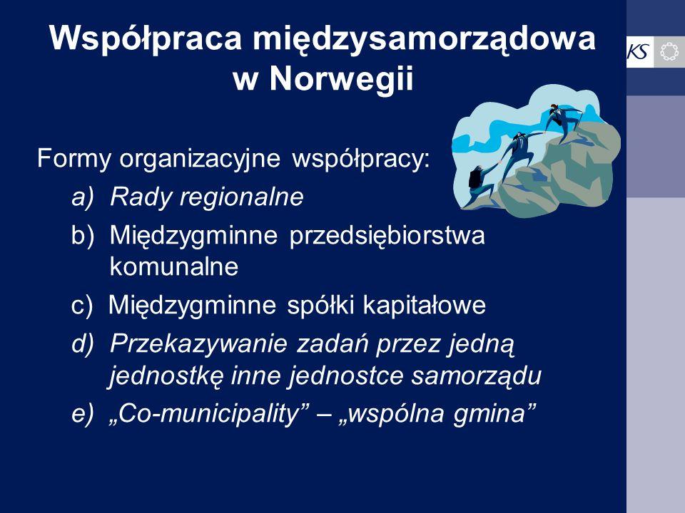 Współpraca międzysamorządowa w Norwegii Formy organizacyjne współpracy: a)Rady regionalne b)Międzygminne przedsiębiorstwa komunalne c) Międzygminne sp