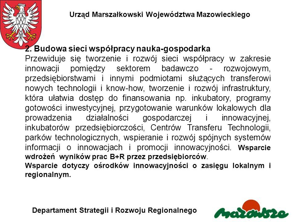 Urząd Marszałkowski Województwa Mazowieckiego Departament Strategii i Rozwoju Regionalnego 2. Budowa sieci współpracy nauka-gospodarka Przewiduje się