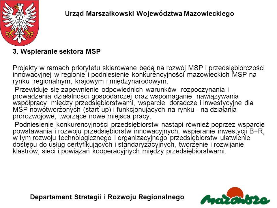 Urząd Marszałkowski Województwa Mazowieckiego Departament Strategii i Rozwoju Regionalnego 3. Wspieranie sektora MSP Projekty w ramach priorytetu skie