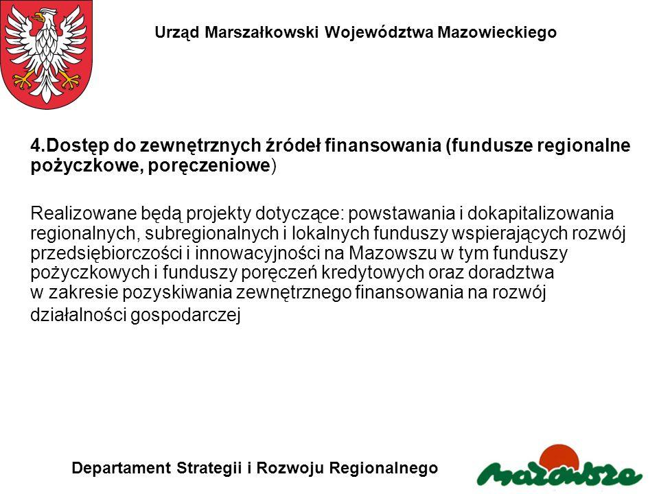 Urząd Marszałkowski Województwa Mazowieckiego Departament Strategii i Rozwoju Regionalnego 4.Dostęp do zewnętrznych źródeł finansowania (fundusze regi