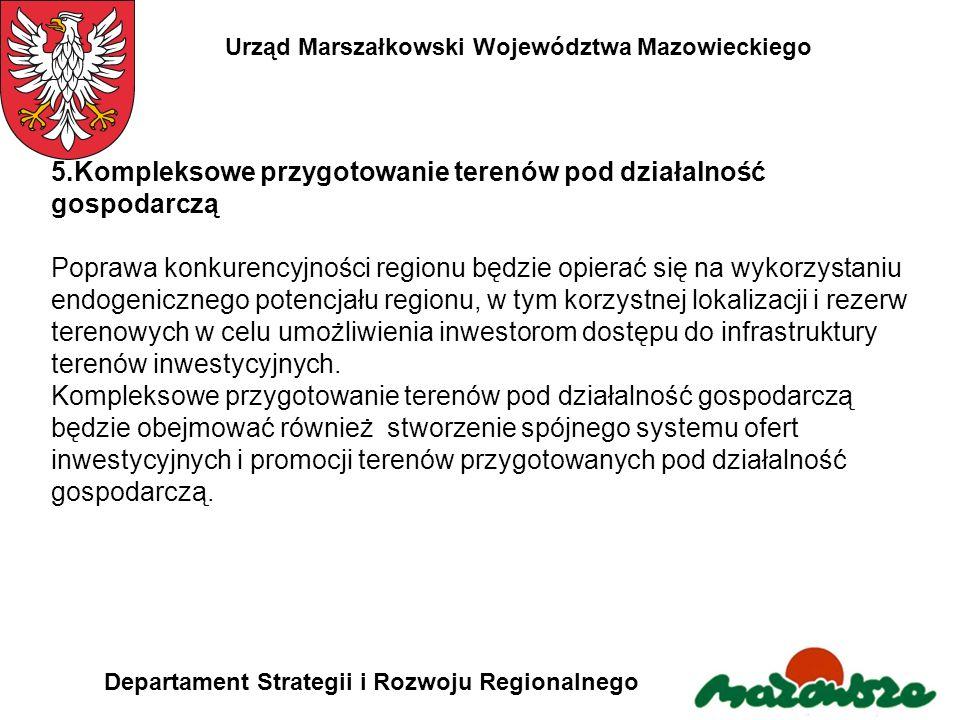 Urząd Marszałkowski Województwa Mazowieckiego Departament Strategii i Rozwoju Regionalnego 5.Kompleksowe przygotowanie terenów pod działalność gospoda