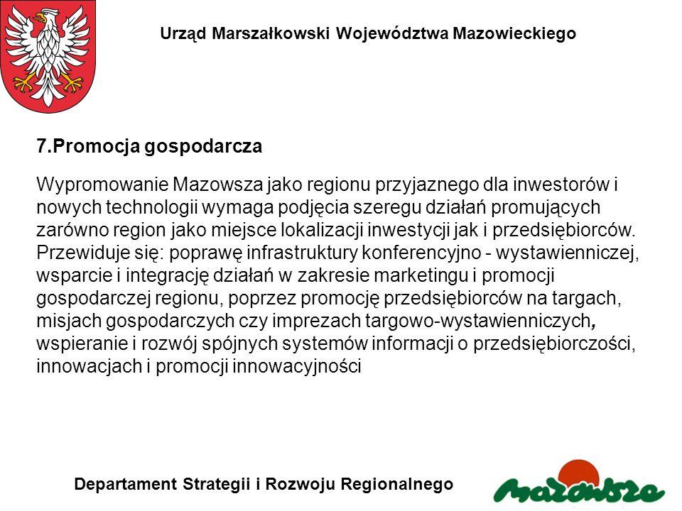 Urząd Marszałkowski Województwa Mazowieckiego Departament Strategii i Rozwoju Regionalnego 7.Promocja gospodarcza Wypromowanie Mazowsza jako regionu p