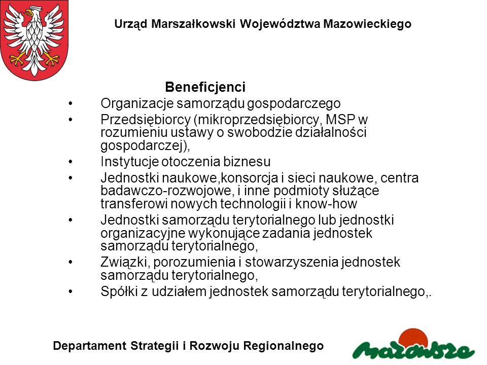 Urząd Marszałkowski Województwa Mazowieckiego Departament Strategii i Rozwoju Regionalnego Beneficjenci Organizacje samorządu gospodarczego Przedsiębi
