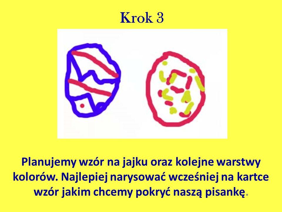 Krok 3 Planujemy wzór na jajku oraz kolejne warstwy kolorów. Najlepiej narysować wcześniej na kartce wzór jakim chcemy pokryć naszą pisankę.