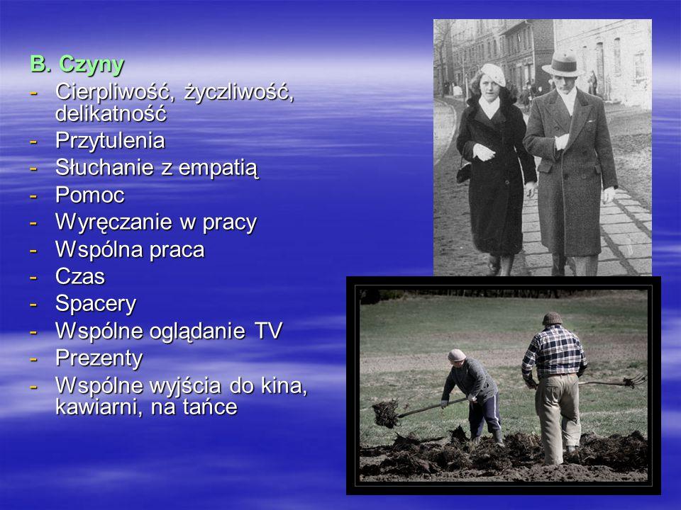 B. Czyny -Cierpliwość, życzliwość, delikatność -Przytulenia -Słuchanie z empatią -Pomoc -Wyręczanie w pracy -Wspólna praca -Czas -Spacery -Wspólne ogl