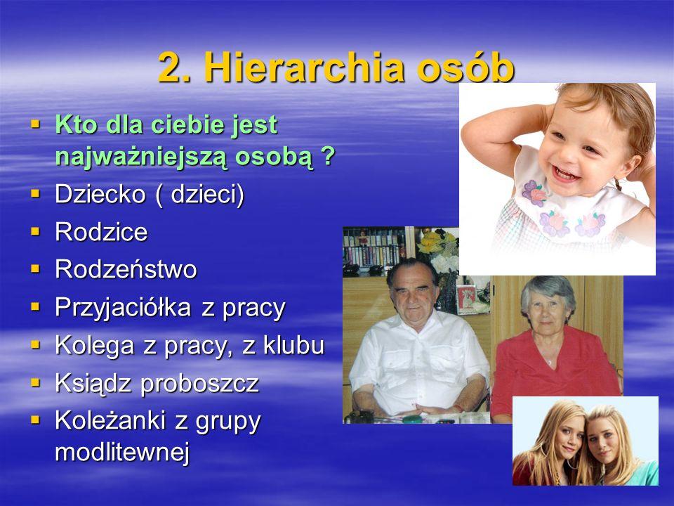 2. Hierarchia osób Kto dla ciebie jest najważniejszą osobą ? Kto dla ciebie jest najważniejszą osobą ? Dziecko ( dzieci) Dziecko ( dzieci) Rodzice Rod