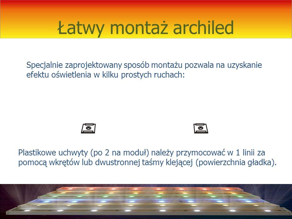 Łatwy montaż archiled Plastikowe uchwyty (po 2 na moduł) należy przymocować w 1 linii za pomocą wkrętów lub dwustronnej taśmy klejącej (powierzchnia g
