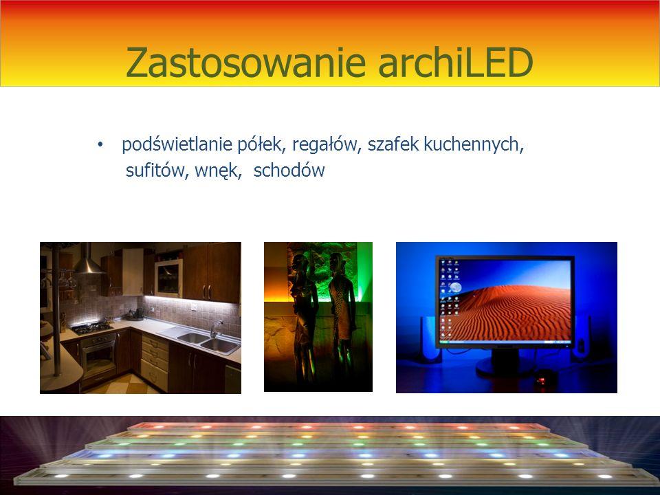 Zastosowanie archiLED podświetlanie półek, regałów, szafek kuchennych, sufitów, wnęk, schodów