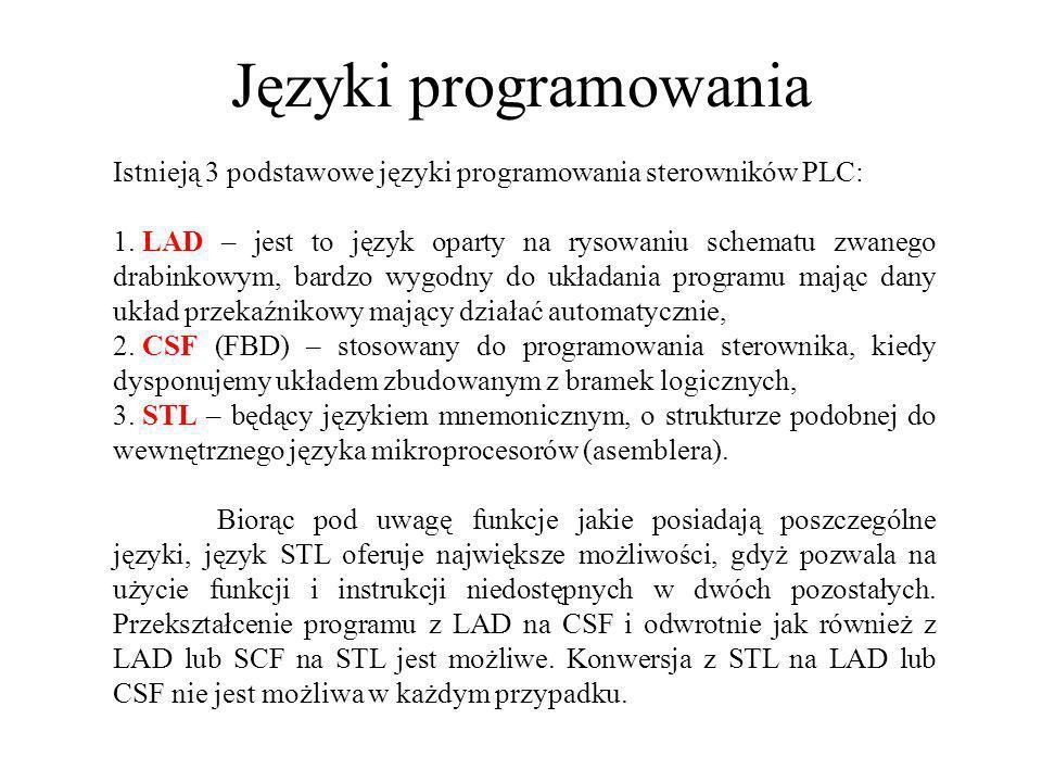Języki programowania Istnieją 3 podstawowe języki programowania sterowników PLC: 1. LAD – jest to język oparty na rysowaniu schematu zwanego drabinkow