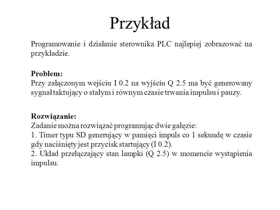 Przykład Programowanie i działanie sterownika PLC najlepiej zobrazować na przykładzie. Rozwiązanie: Zadanie można rozwiązać programując dwie gałęzie: