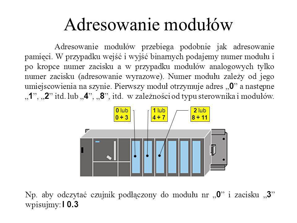 Adresowanie modułów Adresowanie modułów przebiega podobnie jak adresowanie pamięci. W przypadku wejść i wyjść binarnych podajemy numer modułu i po kro