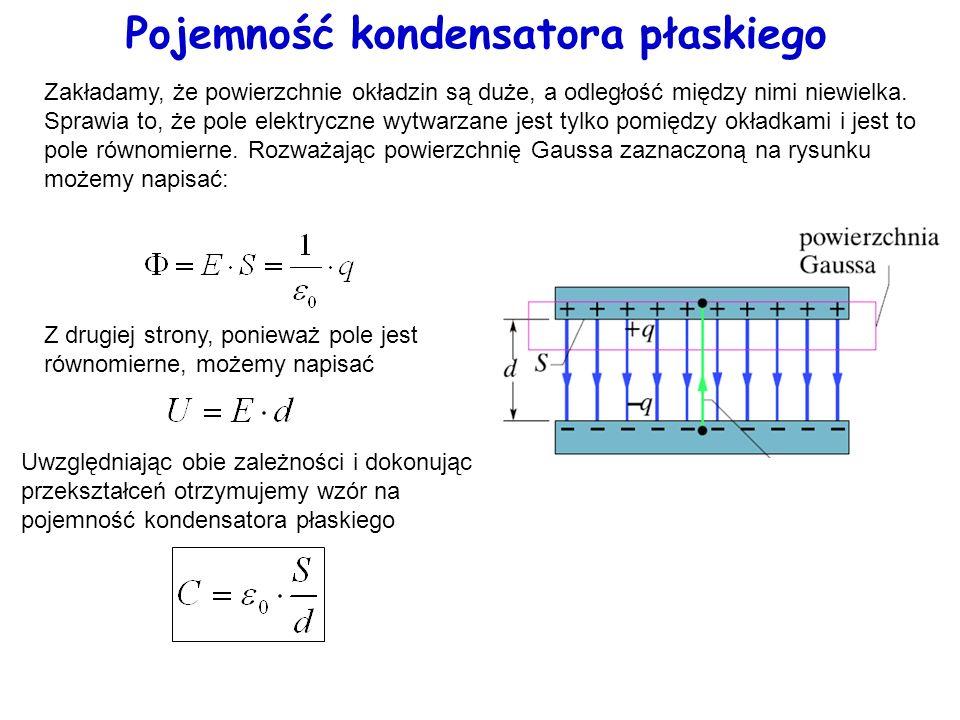 Pojemność kondensatora płaskiego Zakładamy, że powierzchnie okładzin są duże, a odległość między nimi niewielka. Sprawia to, że pole elektryczne wytwa