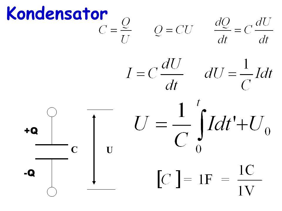 Kondensator +Q -Q U C
