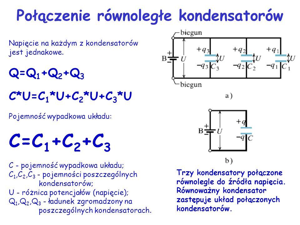 Napięcie na każdym z kondensatorów jest jednakowe. Q=Q 1 +Q 2 +Q 3 C*U=C 1 *U+C 2 *U+C 3 *U Pojemność wypadkowa układu: C=C 1 +C 2 +C 3 C - pojemność