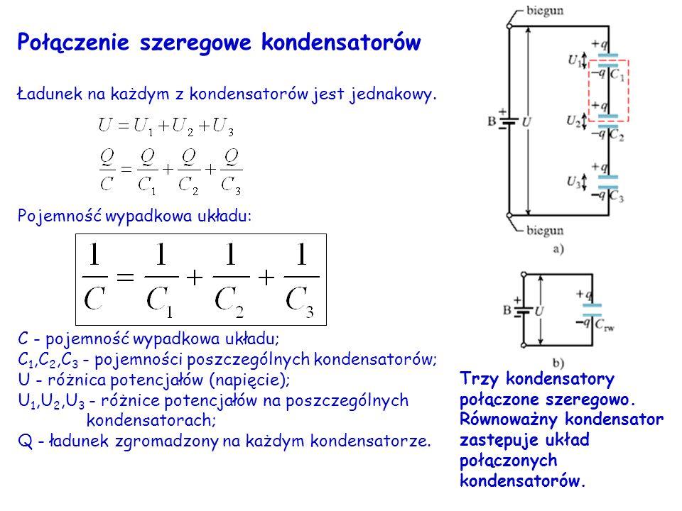 Połączenie szeregowe kondensatorów Ładunek na każdym z kondensatorów jest jednakowy. Pojemność wypadkowa układu: C - pojemność wypadkowa układu; C 1,C