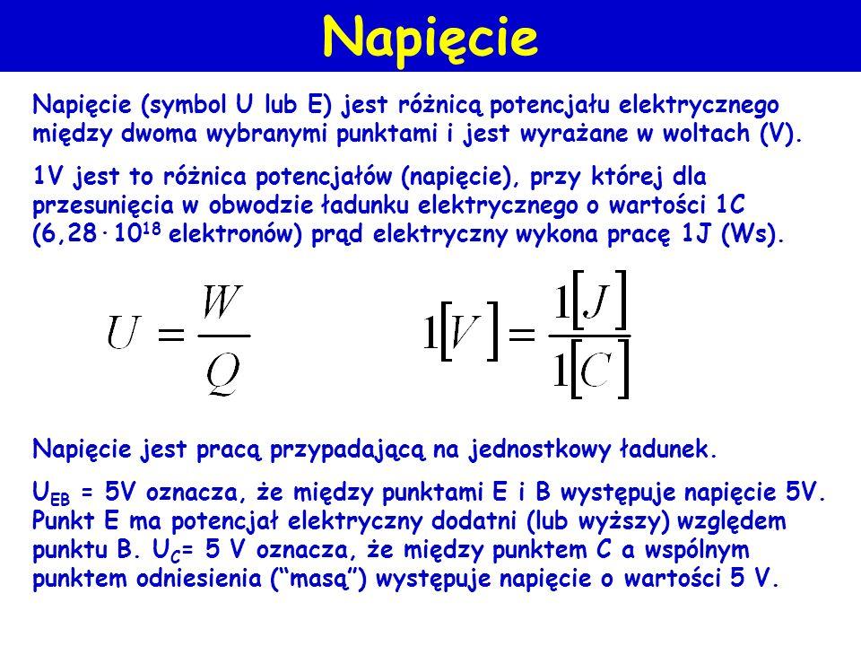 Napięcie (symbol U lub E) jest różnicą potencjału elektrycznego między dwoma wybranymi punktami i jest wyrażane w woltach (V). 1V jest to różnica pote