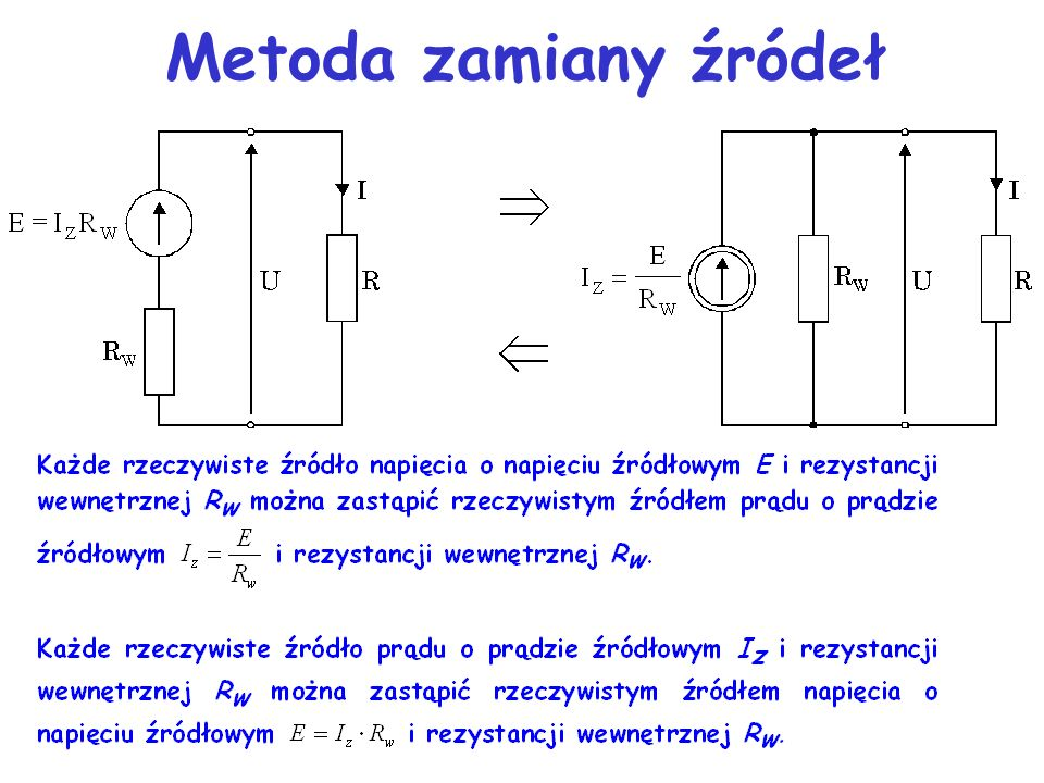 Metoda zamiany źródeł Metoda polega na zamianie niezależnych źródeł napięciowych na równoważne źródła prądowe (lub odwrotnie) i ich odpowiednim łączen