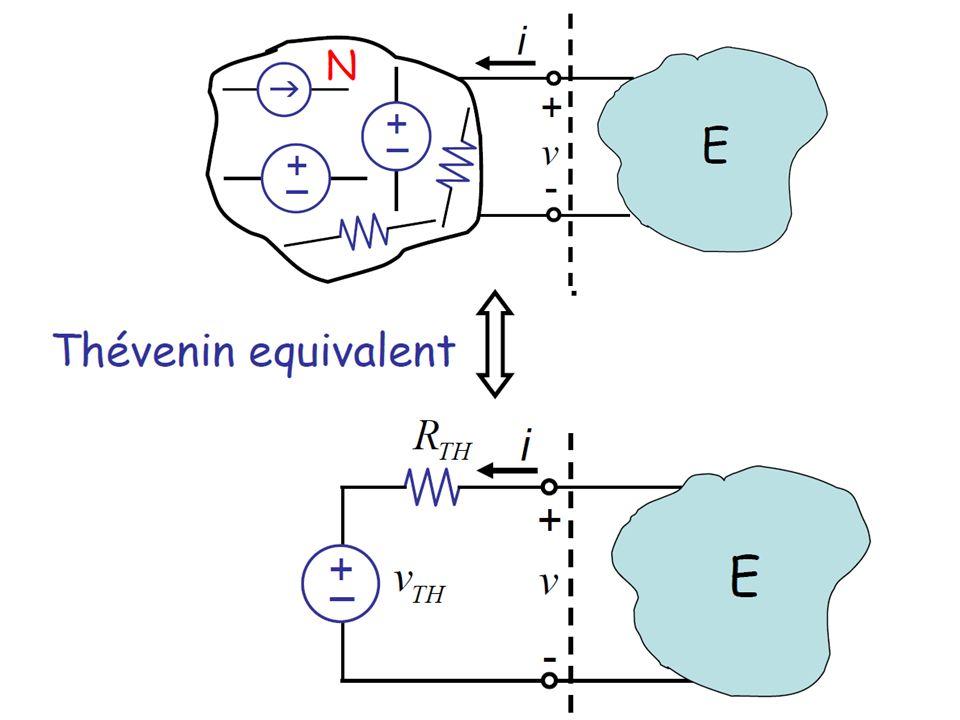 Dowolny dwójnik rezystancyjny można zastąpić równoważnym źródłem napięciowym o sile elektromotorycznej V TH i oporze wewnętrznym R TH przy czym: V TH