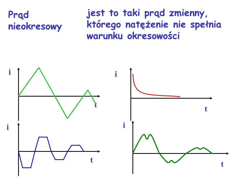 i T tt i T i t Ti T t Prąd okresowy jest to taki prąd zmienny, którego natężenie zmienia się w równych odstępach czasu T tzn. i(t)=i(t+T)
