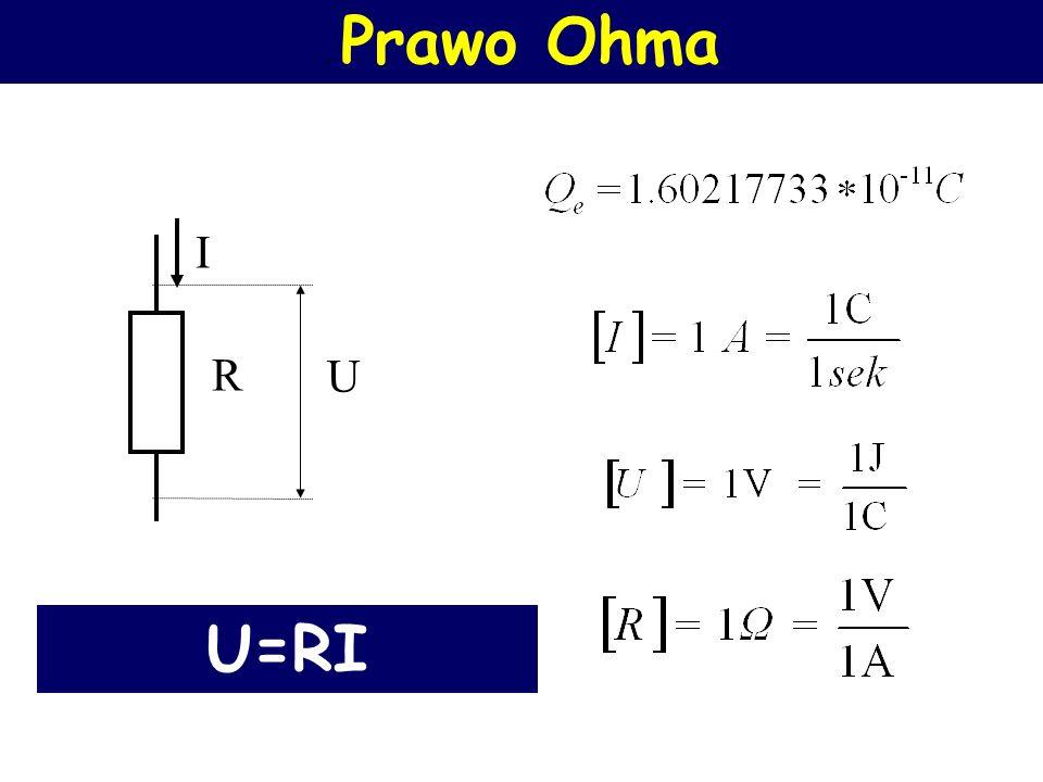 Prawo Ohma Natężenie prądu płynącego w obwodzie jest wprost proporcjonalne do napięcia zasilającego obwód i odwrotnie proporcjonalne do oporu tego obw