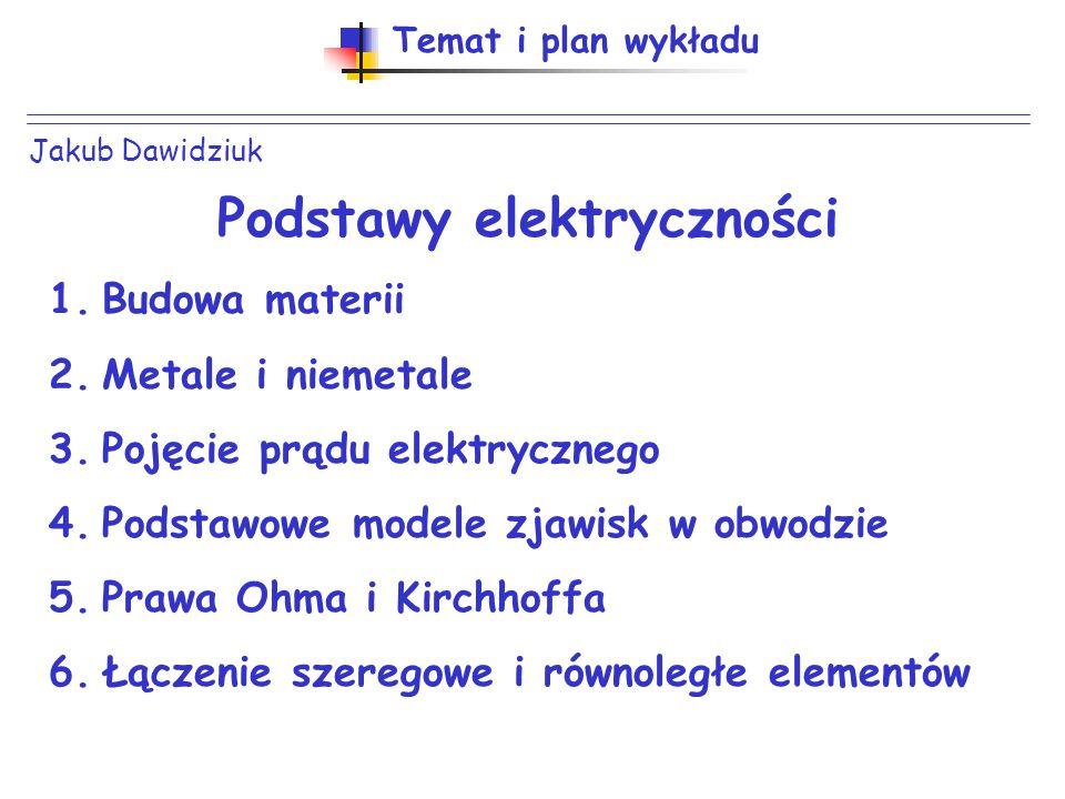 Jakub Dawidziuk Temat i plan wykładu Podstawy elektryczności 1.Budowa materii 2.Metale i niemetale 3.Pojęcie prądu elektrycznego 4.Podstawowe modele zjawisk w obwodzie 5.Prawa Ohma i Kirchhoffa 6.Łączenie szeregowe i równoległe elementów