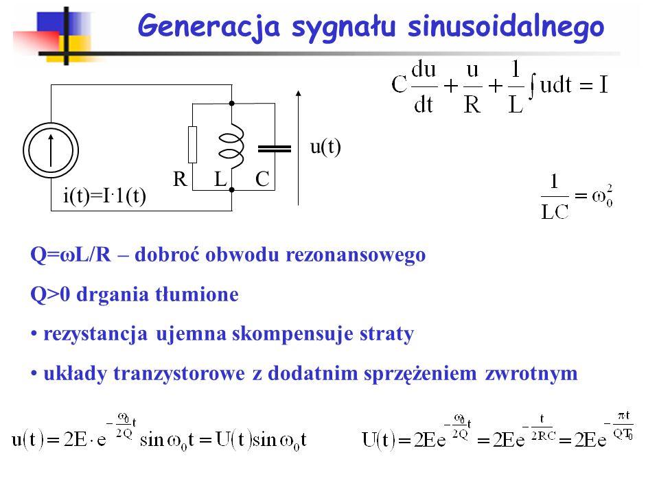 Rodzaje generatorów Generatory: generatory częstotliwości – wzorcowy zegar, np.