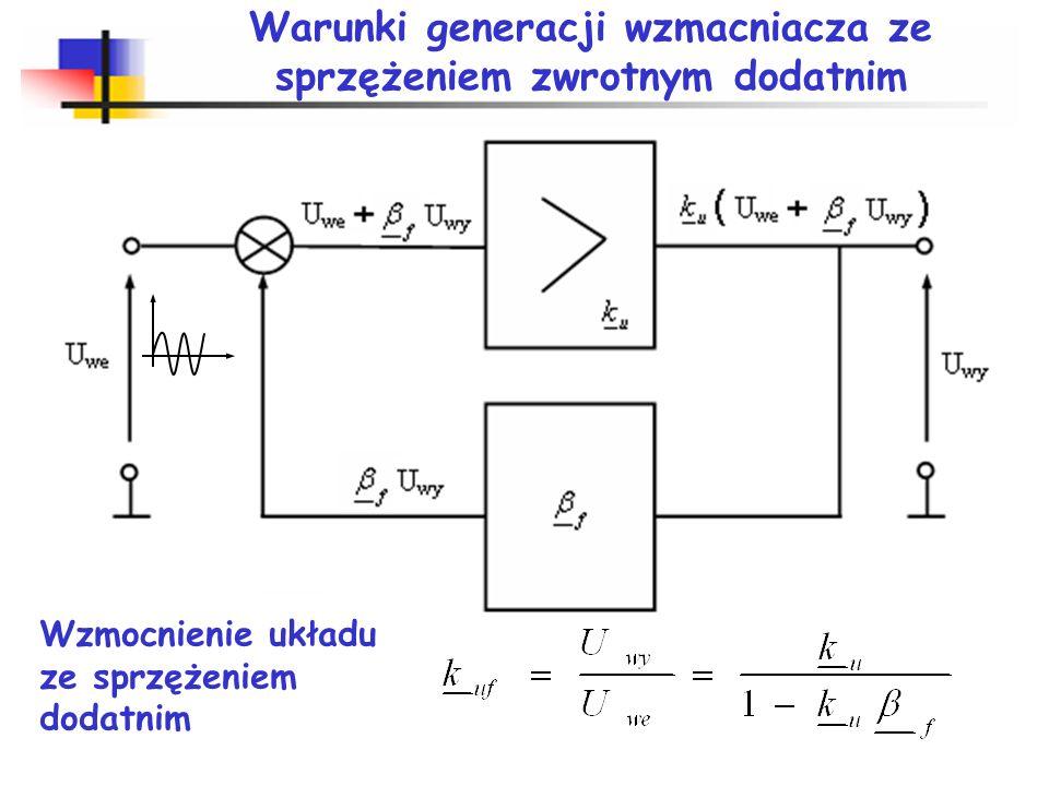 Generacja sygnału sinusoidalnego RLC i(t)=I. 1(t) u(t) Q=ωL/R – dobroć obwodu rezonansowego Q>0 drgania tłumione rezystancja ujemna skompensuje straty
