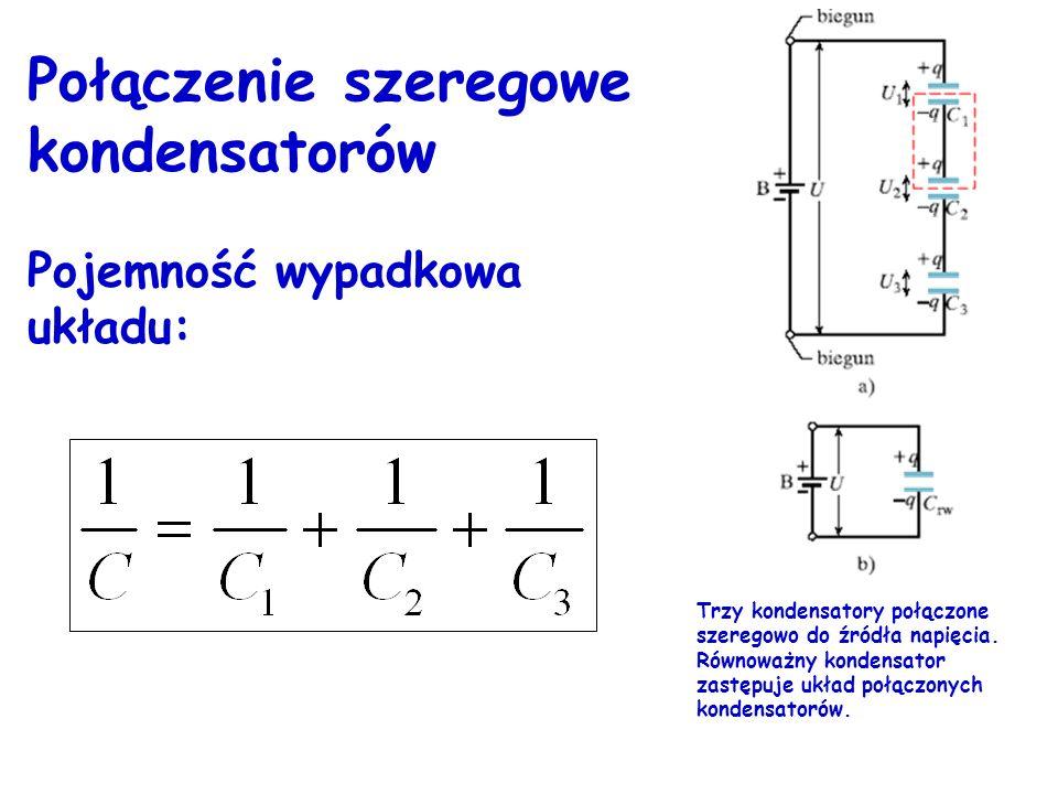 Połączenie równoległe kondensatorów Pojemność wypadkowa układu: C=C 1 +C 2 +C 3 Trzy kondensatory połączone równolegle do źródła napięcia. Równoważny