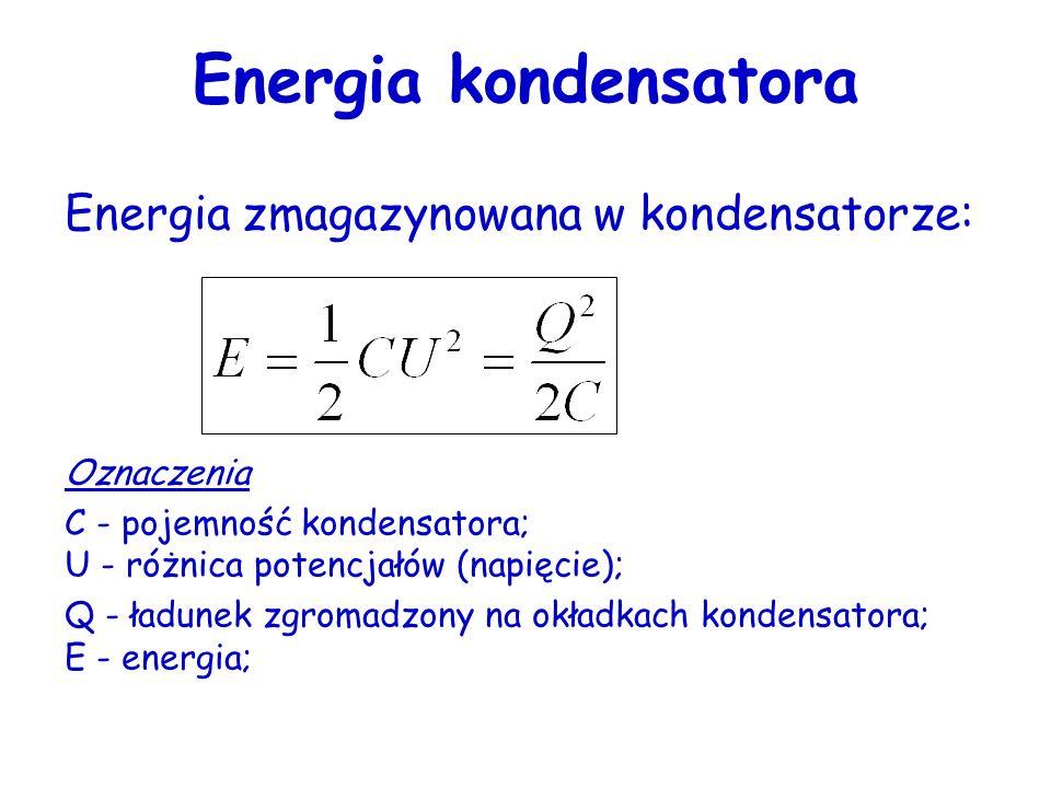 Połączenie szeregowe kondensatorów Pojemność wypadkowa układu: Trzy kondensatory połączone szeregowo do źródła napięcia. Równoważny kondensator zastęp