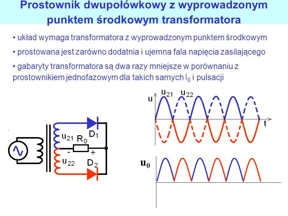 Prostownik jednopołówkowy RC Q = I 0 T Q = C ΔU C ΔU = I 0 T C = I 0 / f ΔU T=1/f