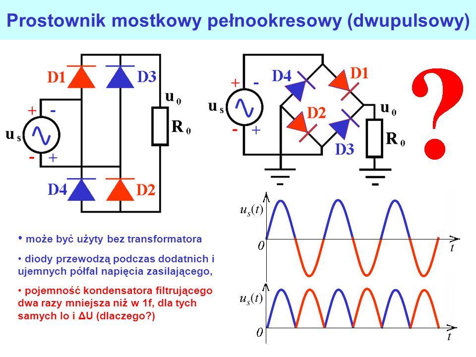 Prostownik dwupołówkowy z wyprowadzonym punktem środkowym transformatora układ wymaga transformatora z wyprowadzonym punktem środkowym prostowana jest zarówno dodatnia i ujemna fala napięcia zasilającego gabaryty transformatora są dwa razy mniejsze w porównaniu z prostownikiem jednofazowym dla takich samych I 0 i pulsacji u0u0