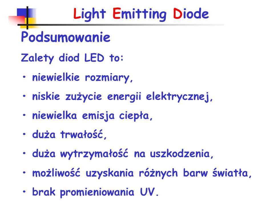 Light Emitting Diode Charakterystyki I(U) diod elektroluminiscencyjnych I F =10-100mA U F =1,3-3V